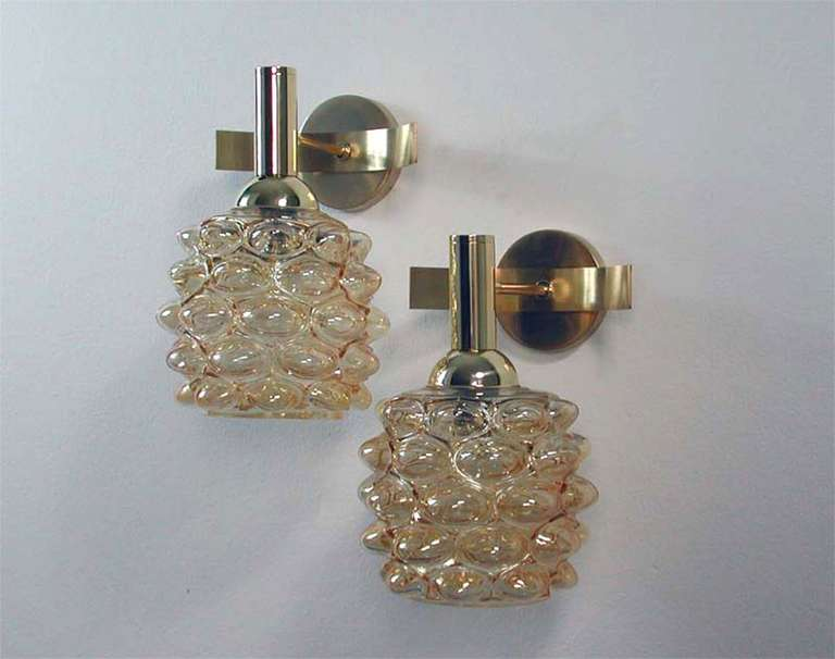 Mid-Century 1960s French Amber Bubble Glass Wall Lamps Sconces For Sale 3