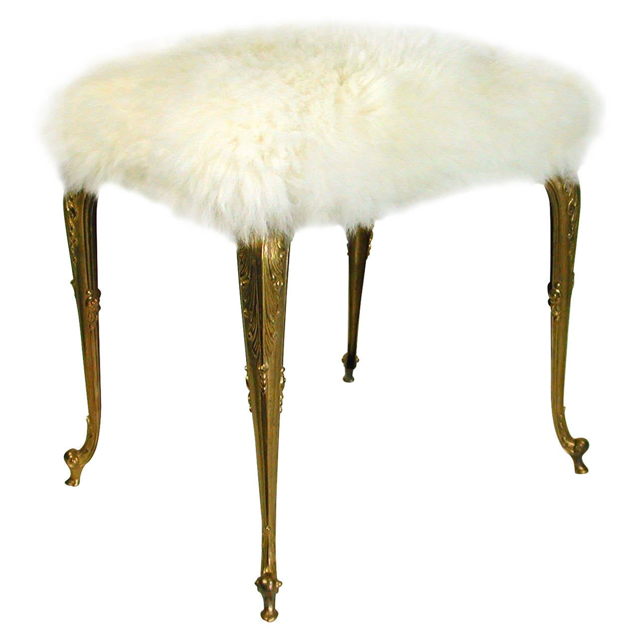 Hollywood Regency Upholstered Fur Sheep Bronze Vanity Stool Chair ...