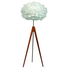 Danish Tripod Teak Floor Lamp with Vita EOS Goose Feathers Shade, 1960s
