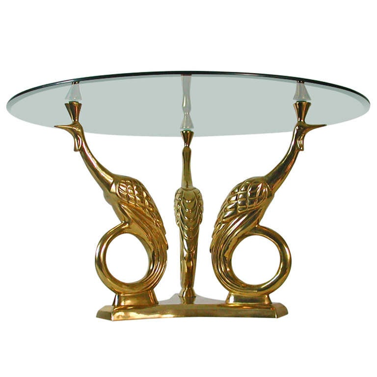 French 1960s bronze and glass figural peacock coffee table for Peacock coffee table