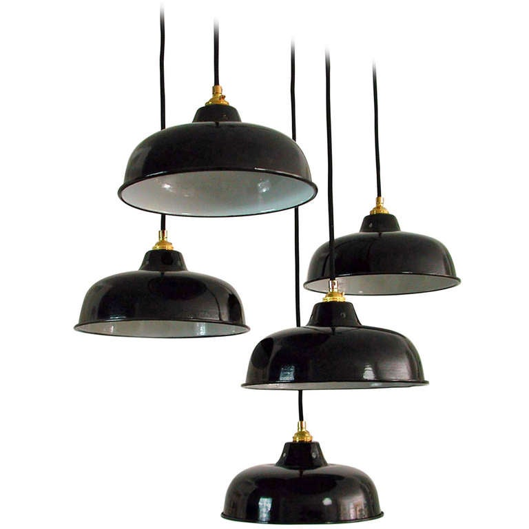 french industrial lighting. NOS 1950s French Industrial Enamel Factory Ceiling Lamps Pendants For Sale Lighting L