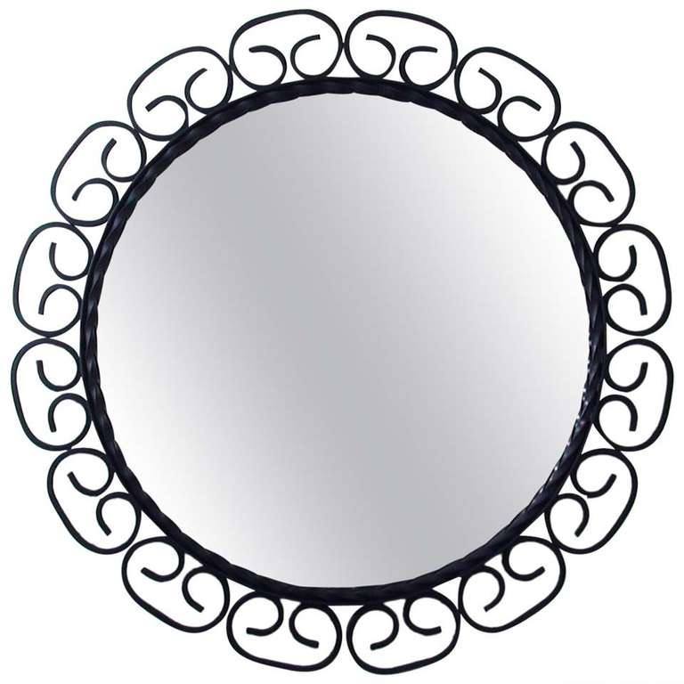 1960s mid century french wrought iron wall mirror for for Wrought iron mirror