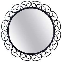 1960s, Mid-Century French Wrought Iron Wall Mirror