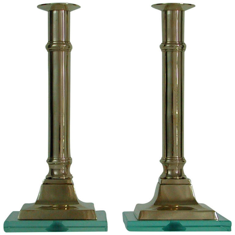 Pair of 1950s Italian Brass and Glass Candlesticks