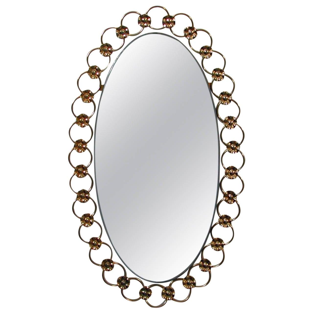 Midcentury Italian Floral Brass Wall Mirror, 1950s