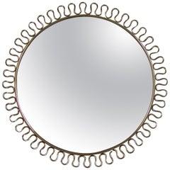 Petite Sculptural Brass Loop Mirror attr. to Josef Frank for Svenskt Tenn, 1950s