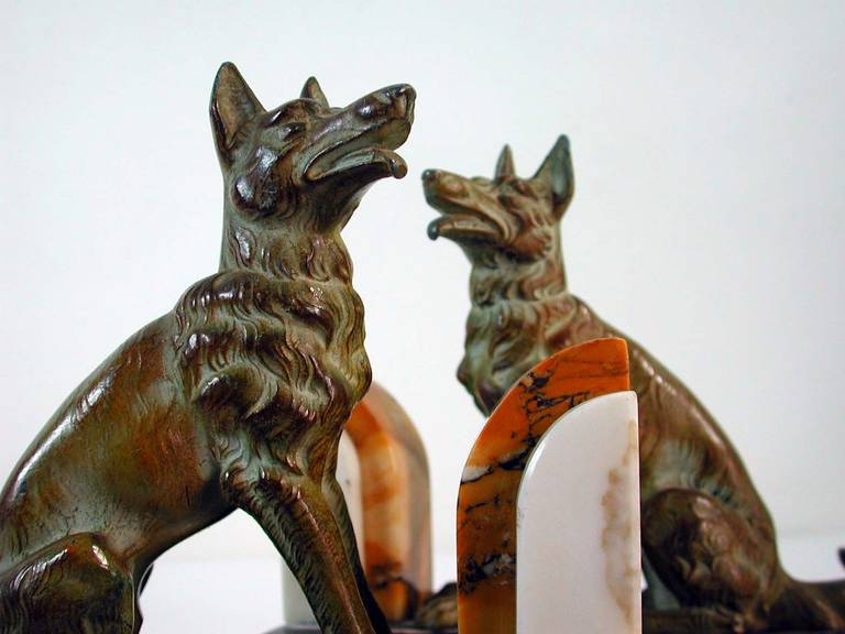 Art Deco French Bookends German Shepherd Dogs in the Manner of Calvin For Sale 5