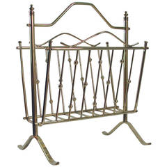 French 1950s Brass Magazine News Rack in the Manner of Maison Charles