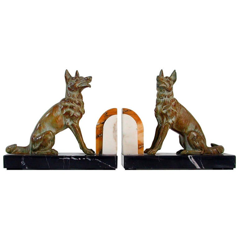 Art Deco French Bookends German Shepherd Dogs in the Manner of Calvin For Sale