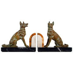 Art Deco French Bookends German Shepherd Dogs in the Manner of Calvin