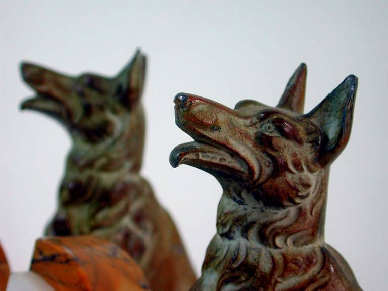 Mid-20th Century Art Deco French Bookends German Shepherd Dogs in the Manner of Calvin For Sale