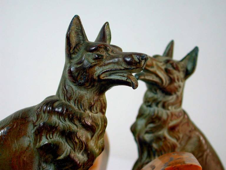 Marble Art Deco French Bookends German Shepherd Dogs in the Manner of Calvin For Sale