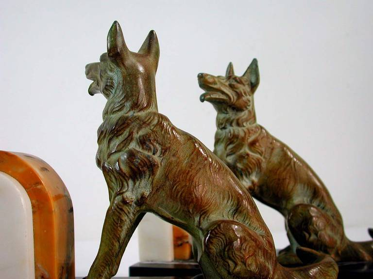 Art Deco French Bookends German Shepherd Dogs in the Manner of Calvin For Sale 1