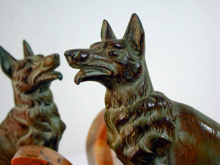 Art Deco French Bookends German Shepherd Dogs in the Manner of Calvin For Sale 2
