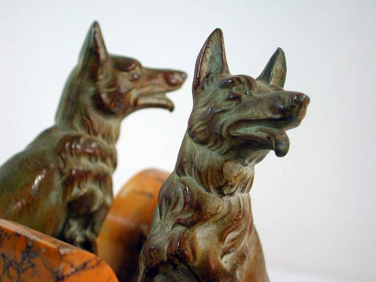 Art Deco French Bookends German Shepherd Dogs in the Manner of Calvin For Sale 3