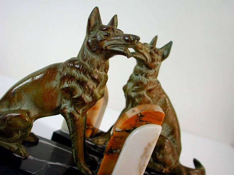 Art Deco French Bookends German Shepherd Dogs in the Manner of Calvin For Sale 4