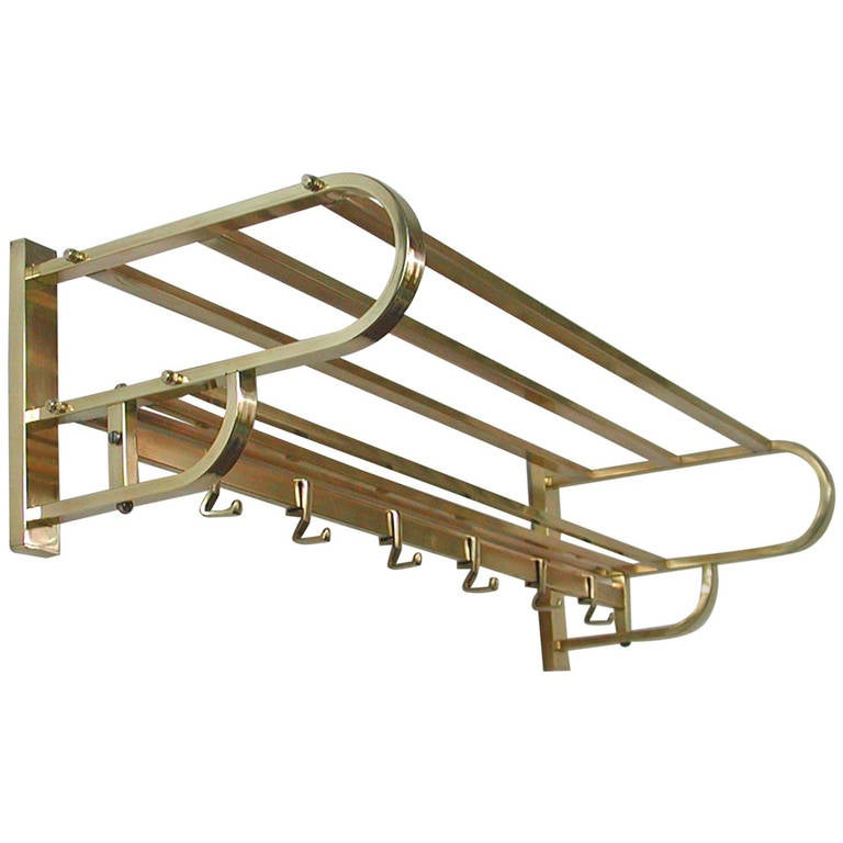 40s German Art Deco Bauhaus Brass Coat Rack at 40stdibs Amazing Vintage Coat Rack With Shelf