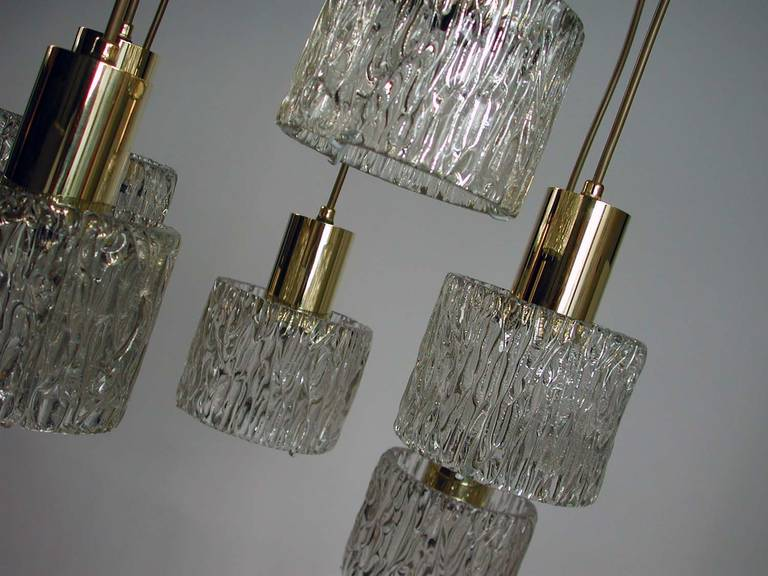 Mid-Century Modern Austrian Cascading Textured Glass and Brass Chandelier by Kalmar For Sale