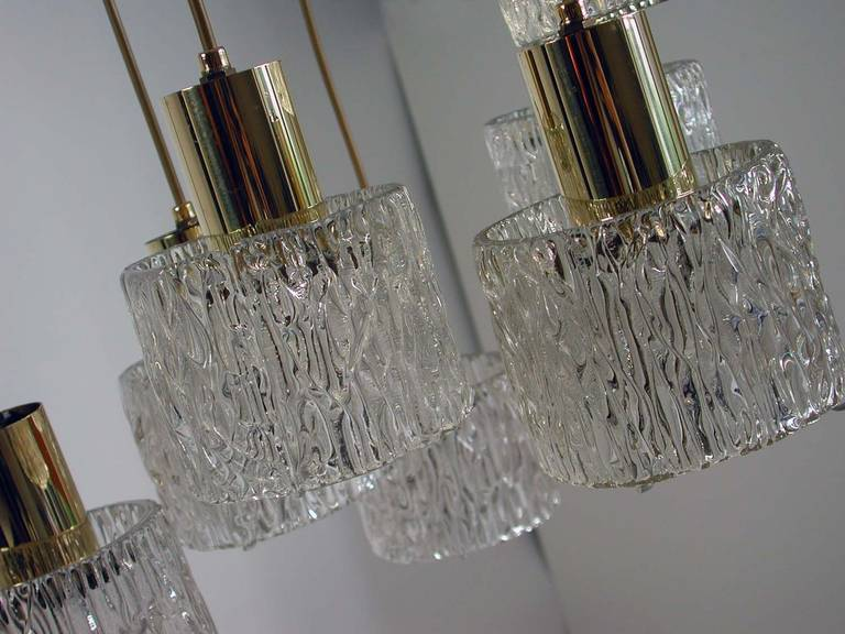 Mid-20th Century Austrian Cascading Textured Glass and Brass Chandelier by Kalmar For Sale