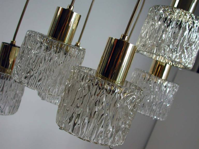 Austrian Cascading Textured Glass and Brass Chandelier by Kalmar For Sale 1