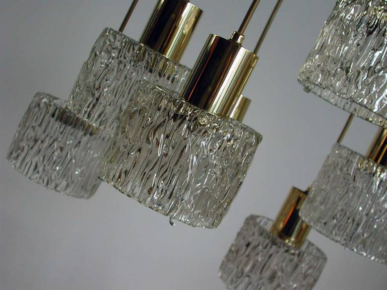 Austrian Cascading Textured Glass and Brass Chandelier by Kalmar For Sale 3