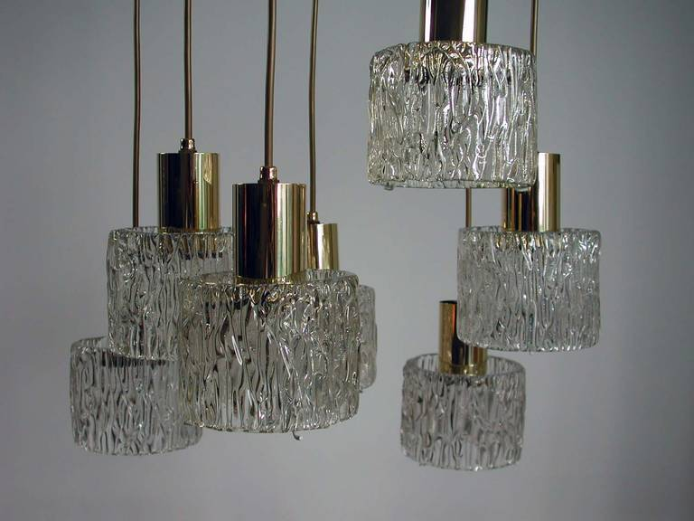 Austrian Cascading Textured Glass and Brass Chandelier by Kalmar For Sale 4