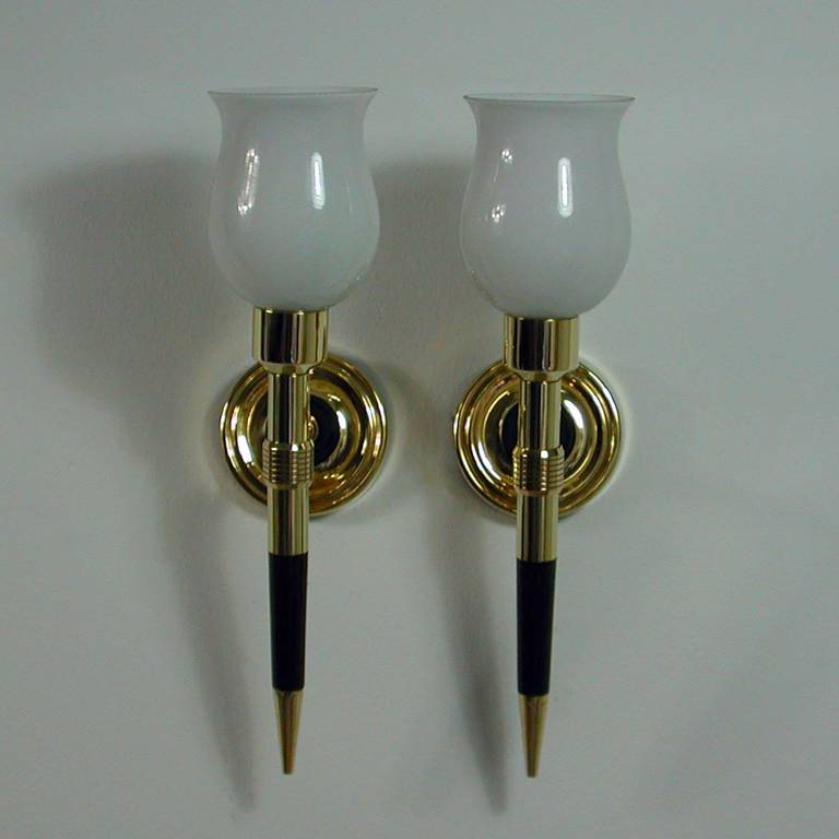 Pair of 1950s French Brass and Teak Torchiere Wall Lamps Sconces For Sale at 1stdibs