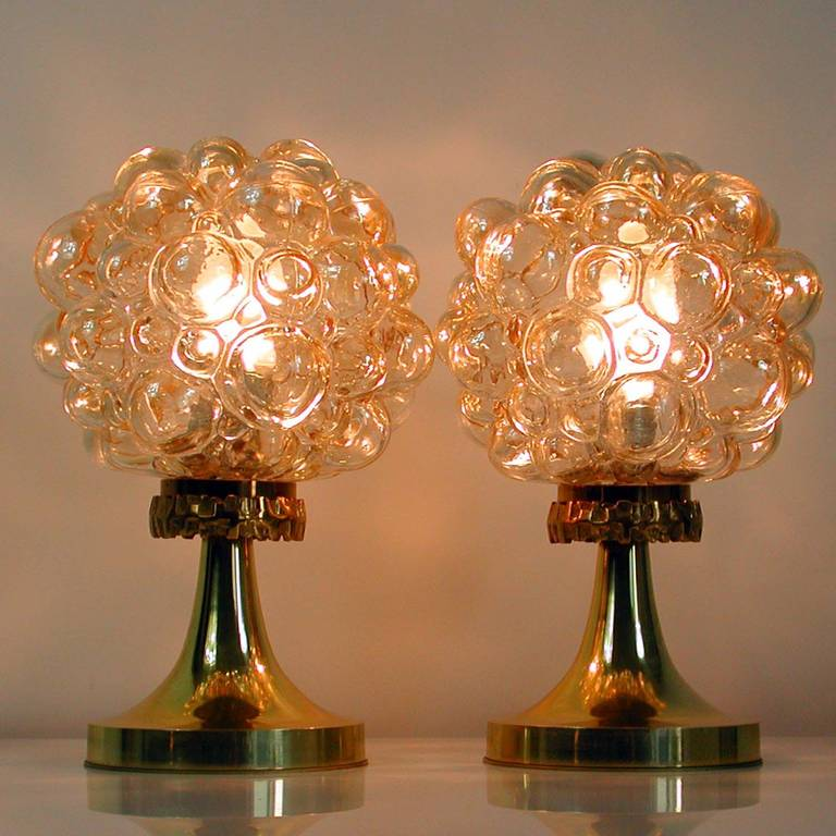 Pair of 1960s Helena Tynell for Limburg Amber Glass Bubble Table Lamps 10