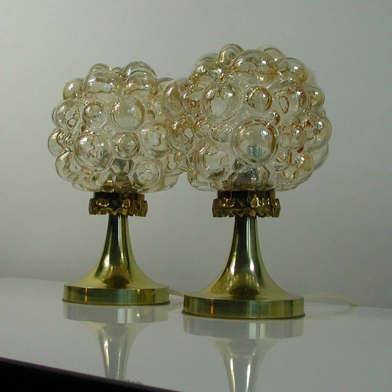 Pair Of 1960s Helena Tynell For Limburg Amber Glass Bubble Table
