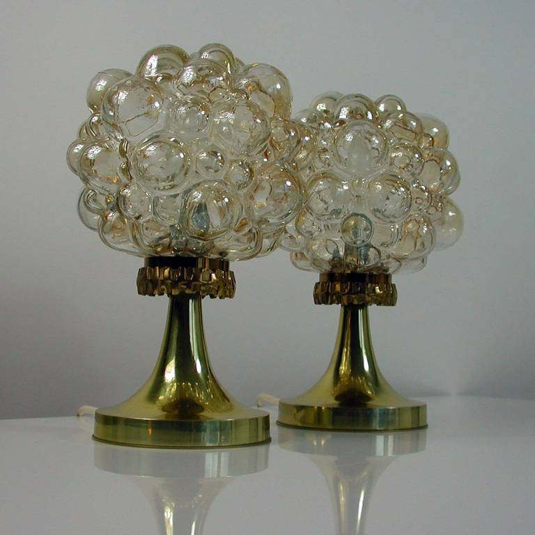 Pair of 1960s Helena Tynell for Limburg Amber Glass Bubble Table Lamps 3