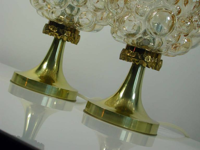 Pair of 1960s Helena Tynell for Limburg Amber Glass Bubble Table Lamps 4