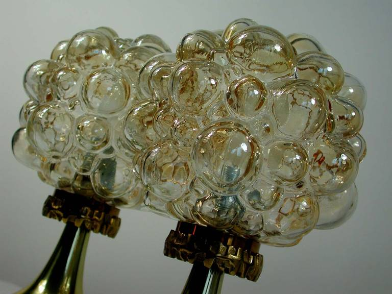 Pair of 1960s Helena Tynell for Limburg Amber Glass Bubble Table Lamps 6