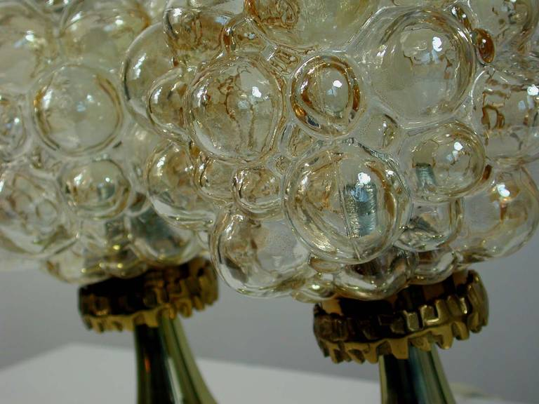 Pair of 1960s Helena Tynell for Limburg Amber Glass Bubble Table Lamps 7
