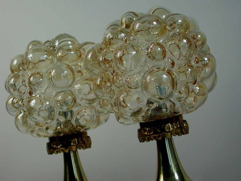 Pair of 1960s Helena Tynell for Limburg Amber Glass Bubble Table Lamps 8