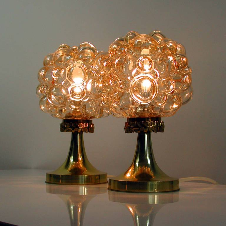 Pair of 1960s Helena Tynell for Limburg Amber Glass Bubble Table Lamps 9