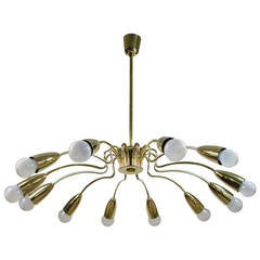 Mid-Century 1950s Italian Twelve-Light Brass Sputnik Chandelier