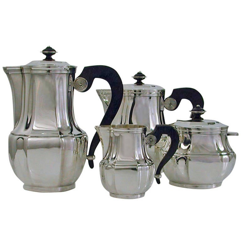 1930s art deco christofle silver plate and rosewood tea and coffee set at 1stdibs. Black Bedroom Furniture Sets. Home Design Ideas