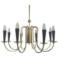 1950s Italian Eight-Arm Sputnik Brass Chandelier in the Manner of Stilnovo