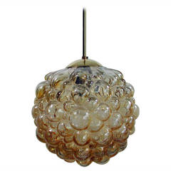 Large Bubble Amber Pendant by Helena Tynell for Limburg, 1960s