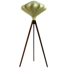 1960s Danish Modern Tripod Teak and Cocoon Floor Lamp Castiglioni Style