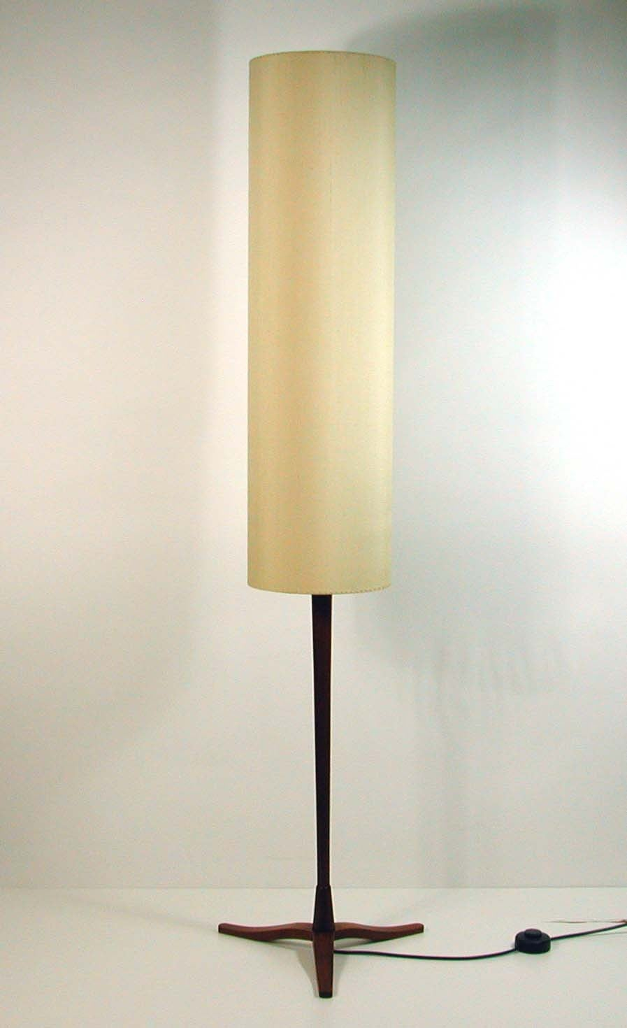 Mid Century Danish Modern Teak And Silk Tripod Floor Lamp