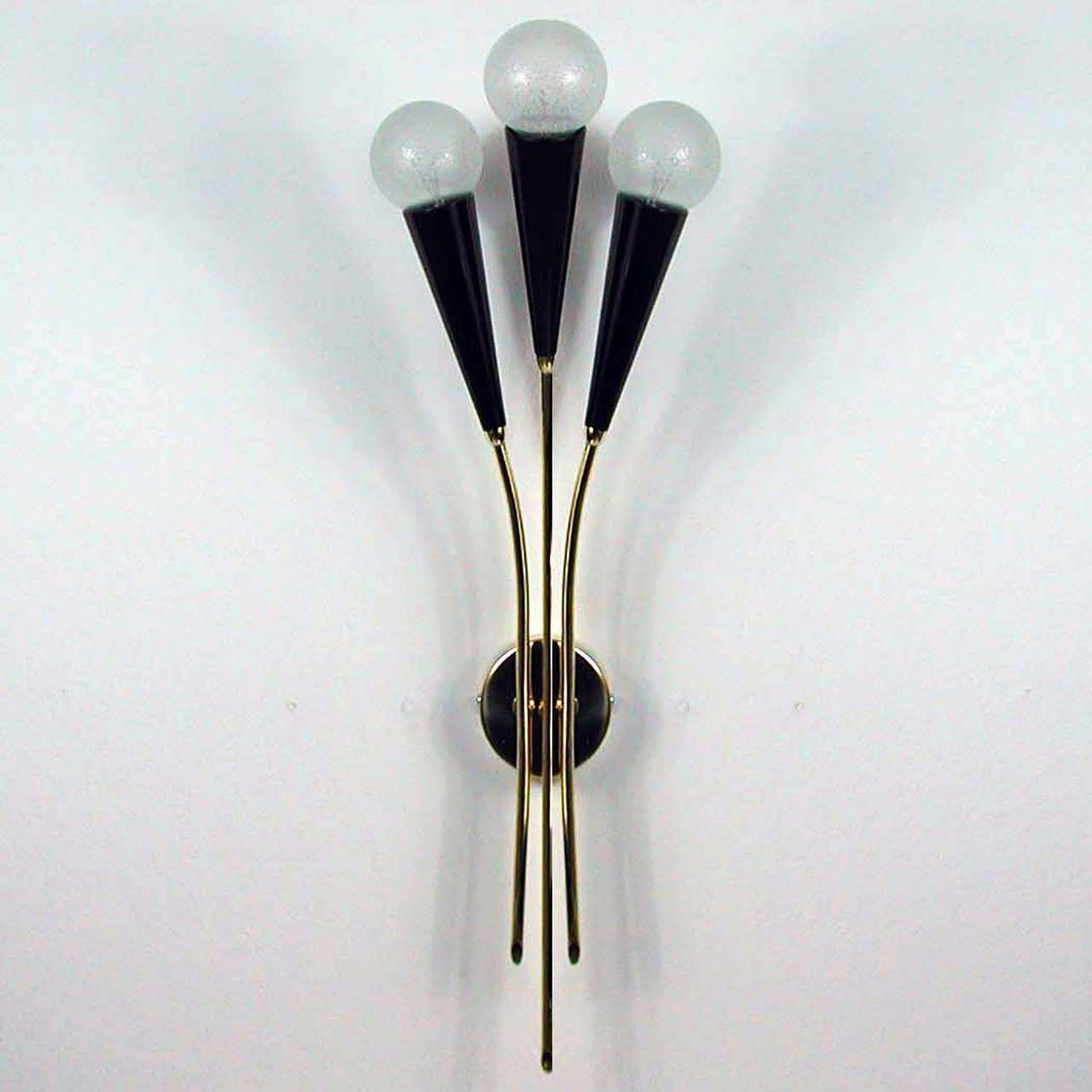 Wall Sconces Mid Century : French Mid Century 3 light Cinema Sconce Wall Lamp1950s at 1stdibs