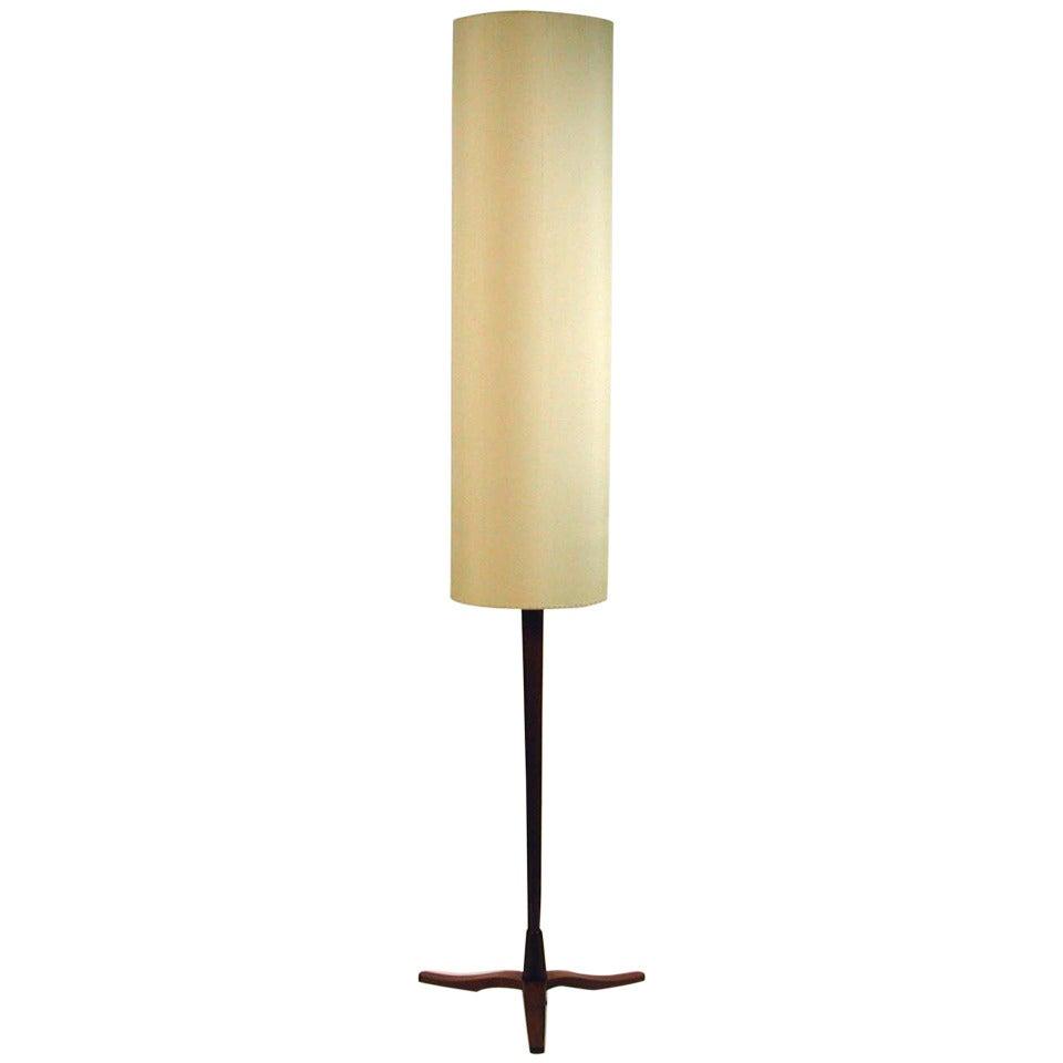 Mid-Century Danish Modern Teak and Silk Tripod Floor Lamp