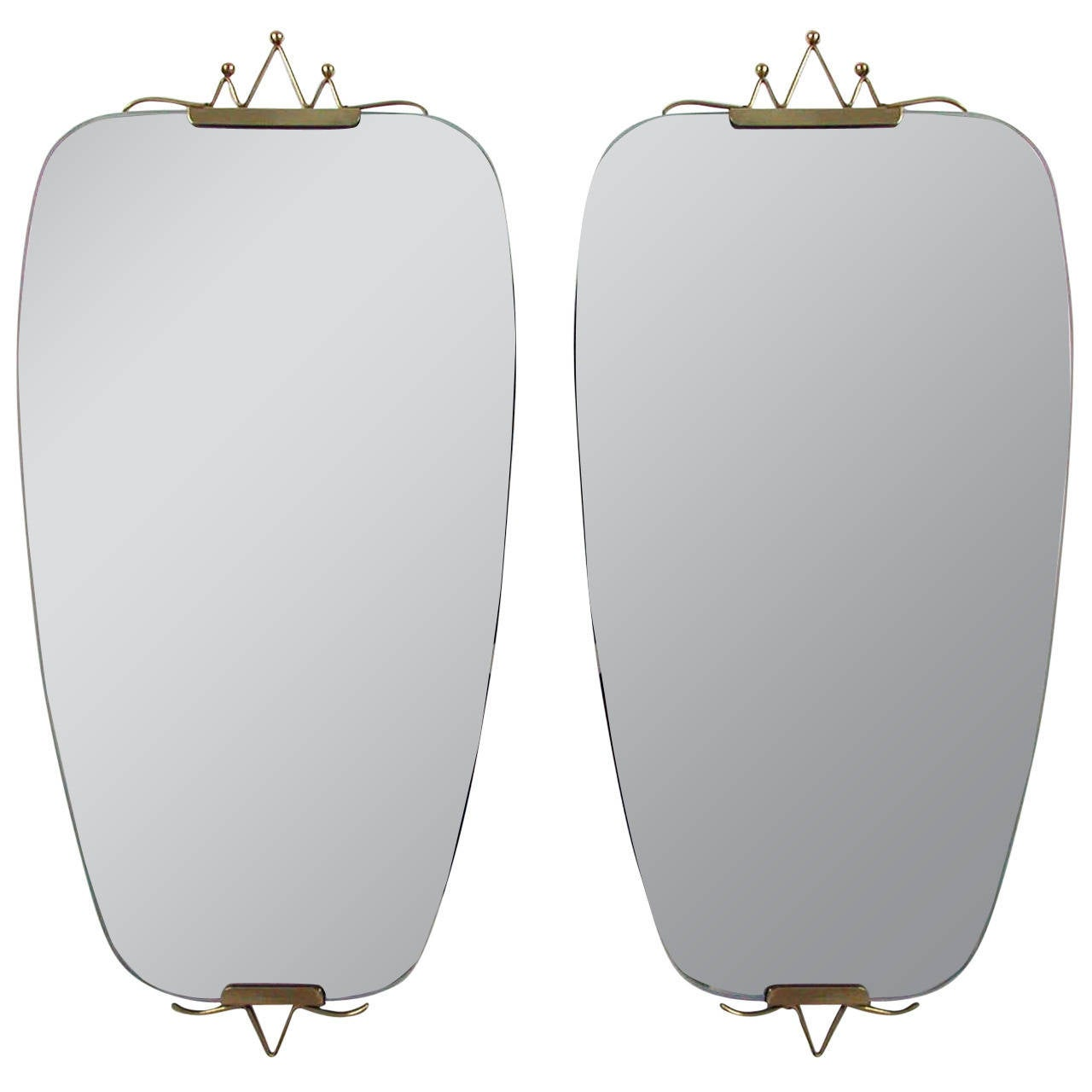Pair of 1950s Mid-Century Italian Brass Wall Mirrors