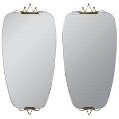 Mid-Century Italian Brass Wall Mirror 1950s, 2 available