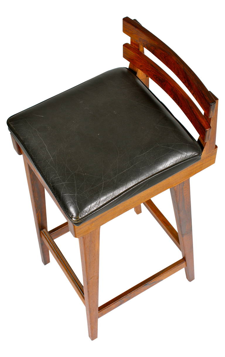Six Bar Stools In Solid Rosewood For Sale At 1stdibs