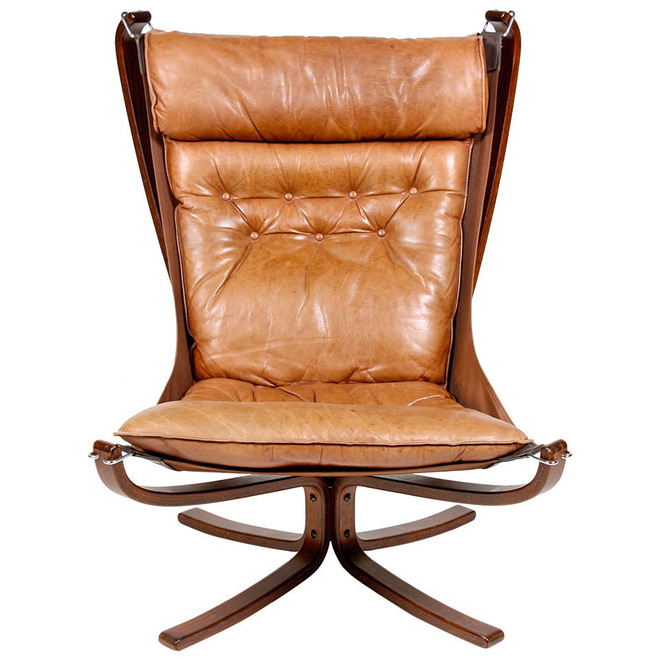 Of four chairs in oak and patinated cognac leather for sale at 1stdibs - High Back Falcon Chair 1