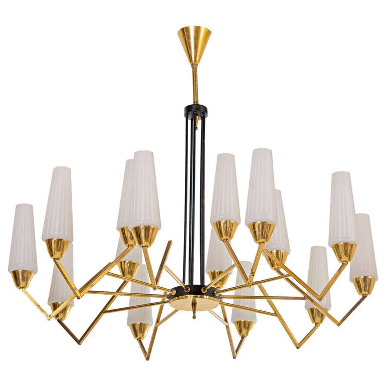 1950s Italian Brass And Glass Chandelier At 1stdibs