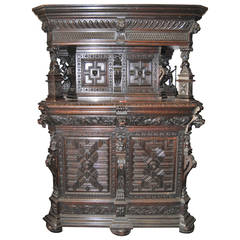 19th Century Carved Oak Cabinet