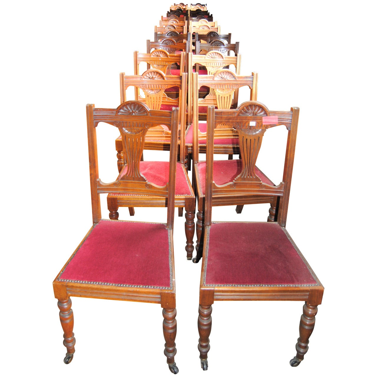 Set of 18 19th Century English Walnut Chairs